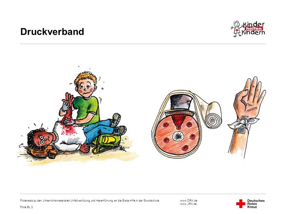 Druckverband Foliensatz zu den Unterrichtsmaterialien Unfallverhütung und Heranführung an die Erste Hilfe in der Grundschule.