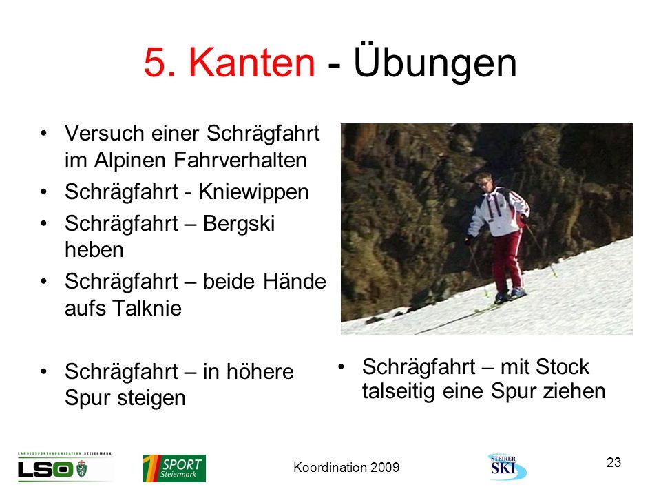 5. Kanten - Übungen Versuch einer Schrägfahrt im Alpinen Fahrverhalten