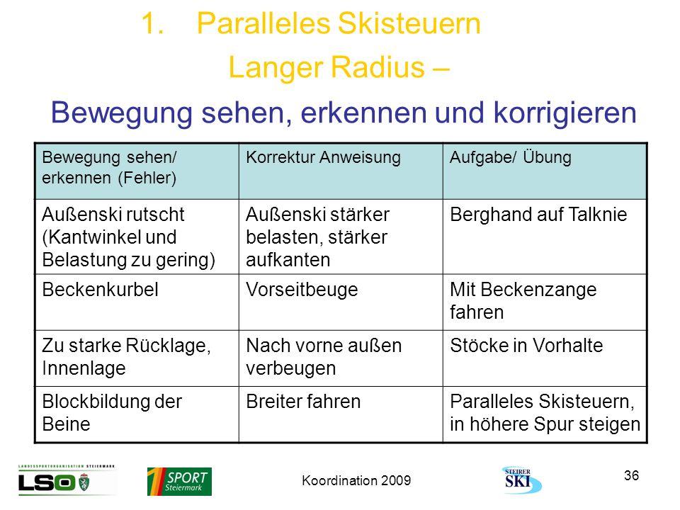 Paralleles Skisteuern Langer Radius – Bewegung sehen, erkennen und korrigieren