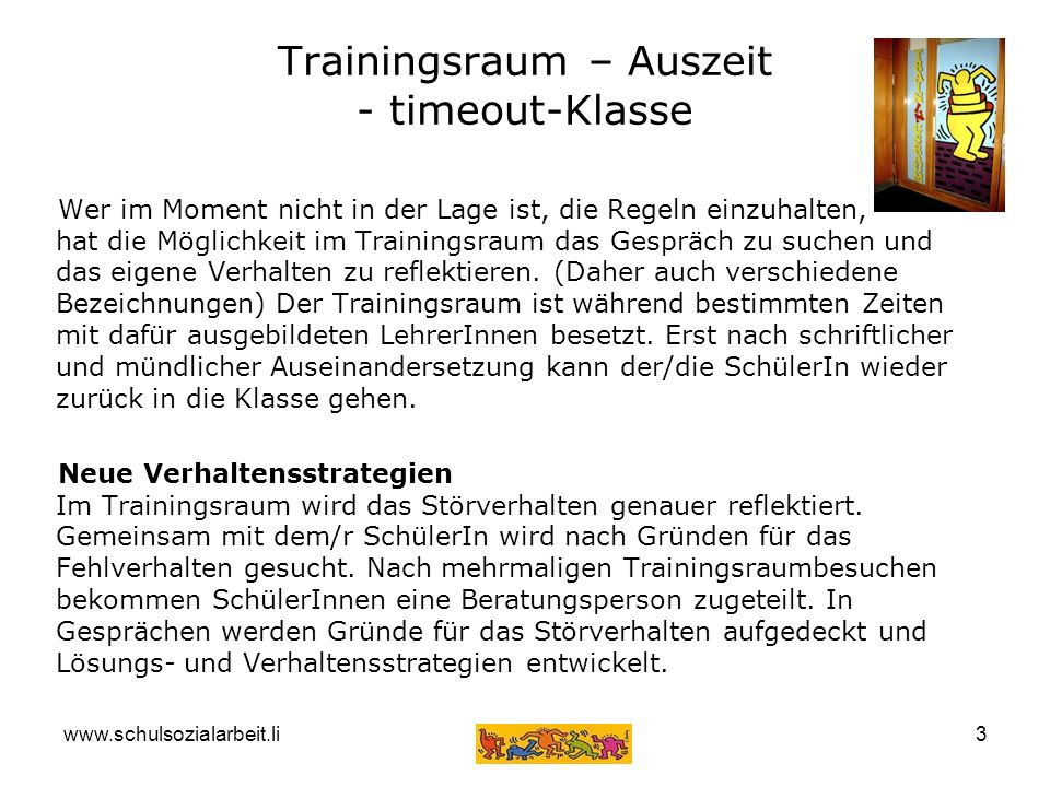 Trainingsraum – Auszeit - timeout-Klasse