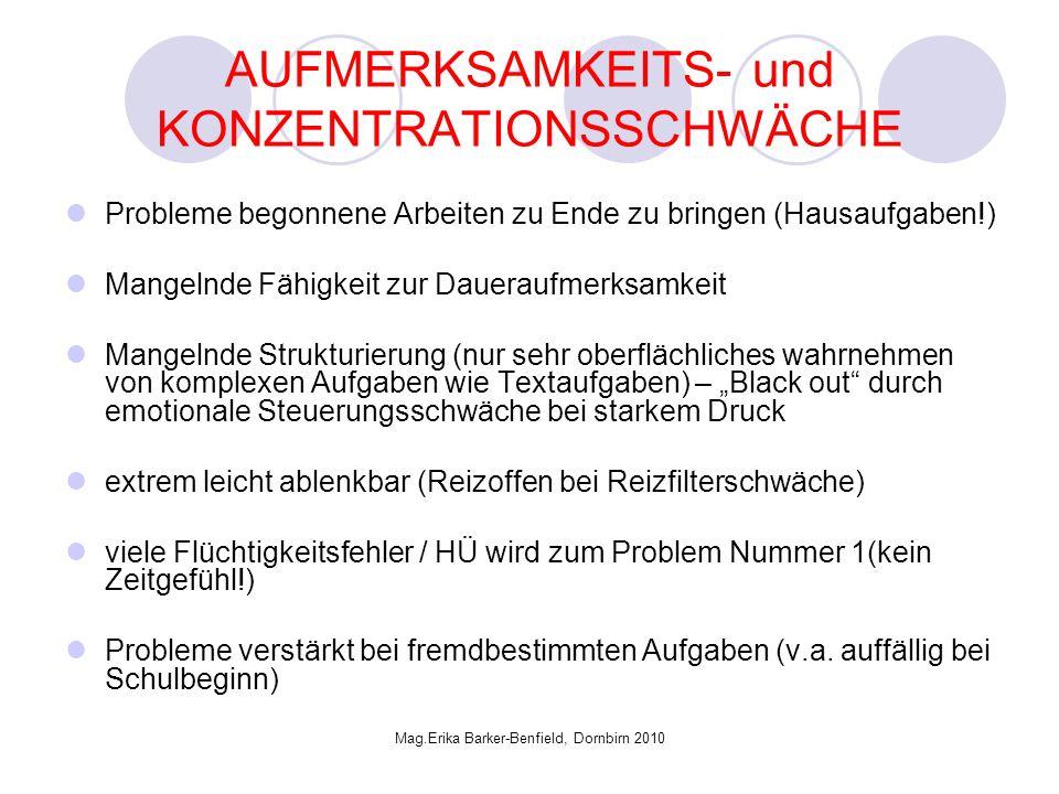 AUFMERKSAMKEITS- und KONZENTRATIONSSCHWÄCHE