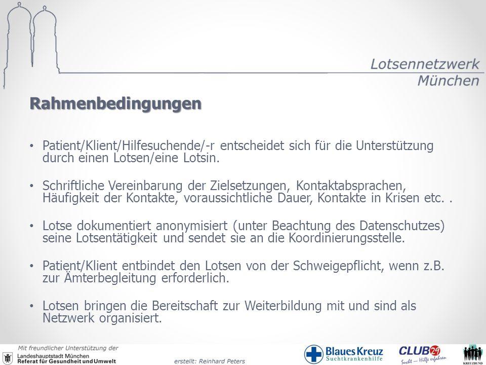 Rahmenbedingungen Patient/Klient/Hilfesuchende/-r entscheidet sich für die Unterstützung durch einen Lotsen/eine Lotsin.