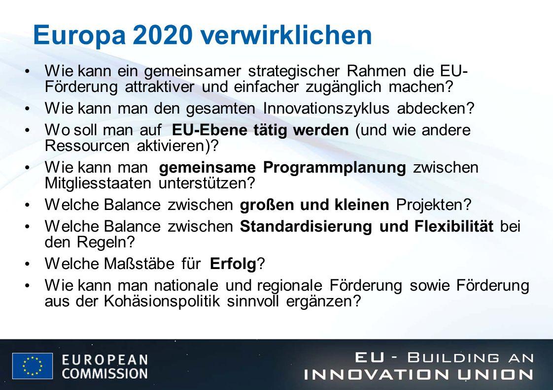 Europa 2020 verwirklichen Wie kann ein gemeinsamer strategischer Rahmen die EU- Förderung attraktiver und einfacher zugänglich machen