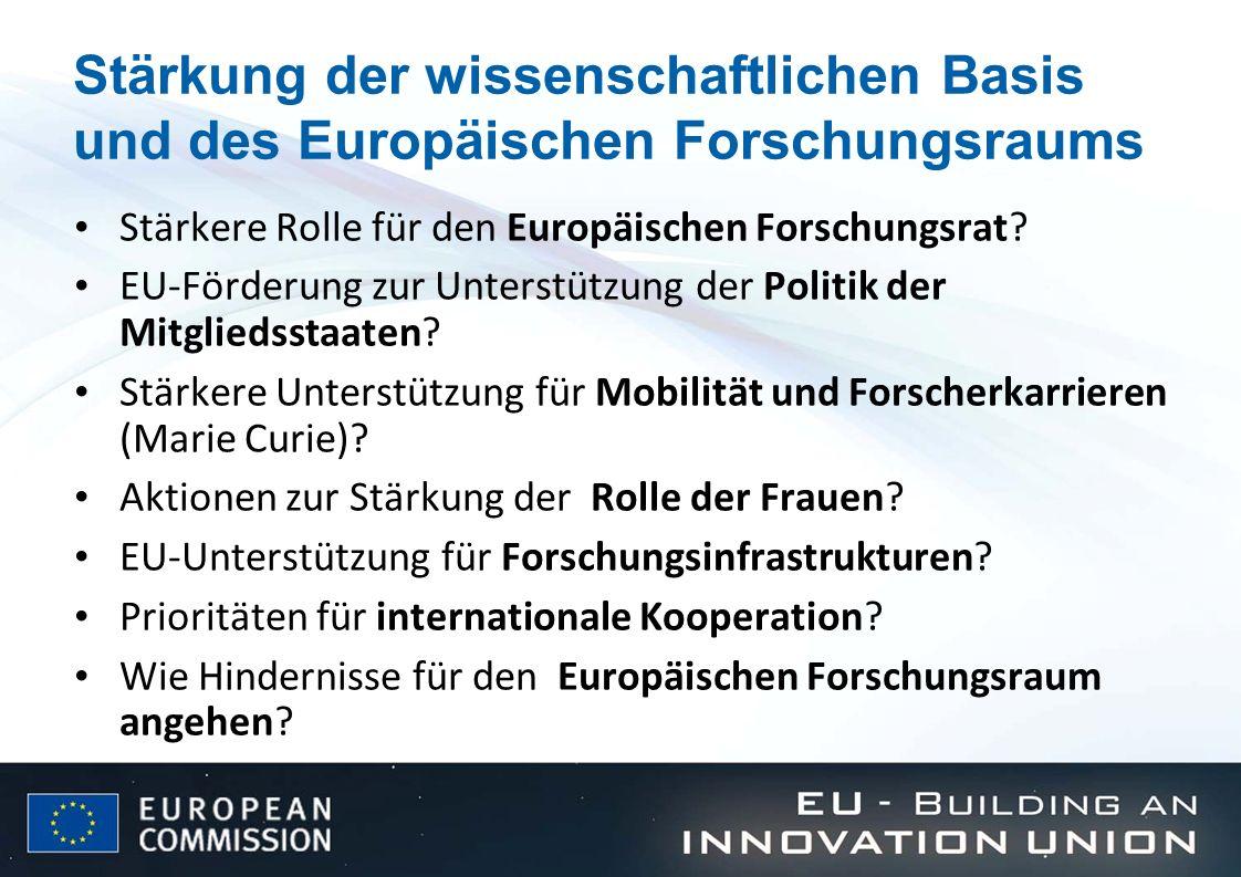 Stärkung der wissenschaftlichen Basis und des Europäischen Forschungsraums