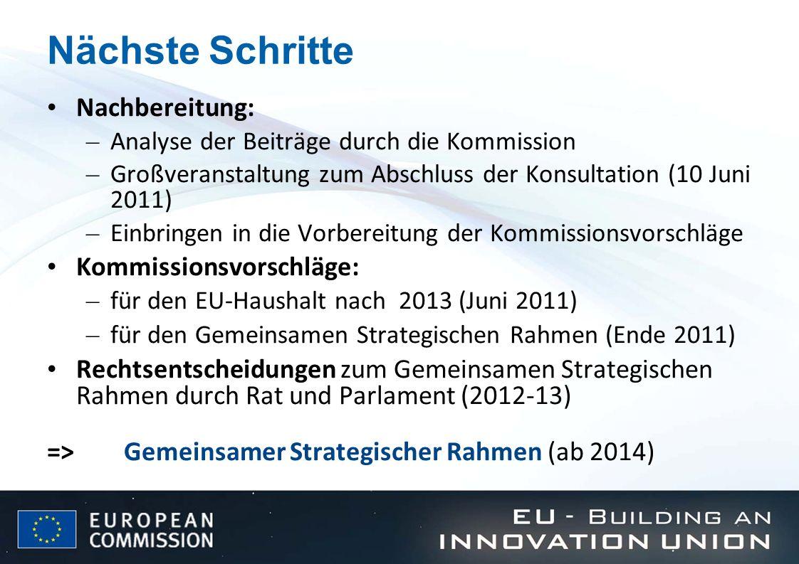 Nächste Schritte Nachbereitung: Kommissionsvorschläge: