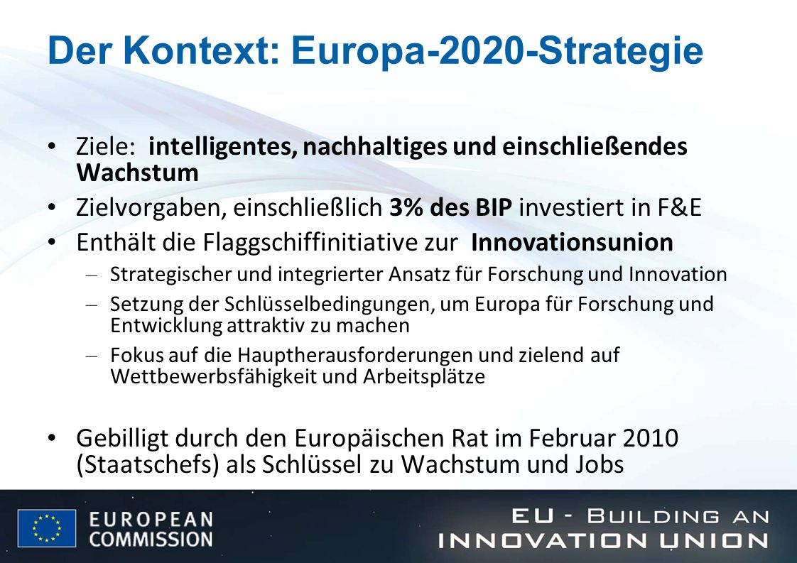 Der Kontext: Europa-2020-Strategie