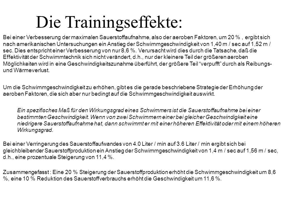 Die Trainingseffekte:
