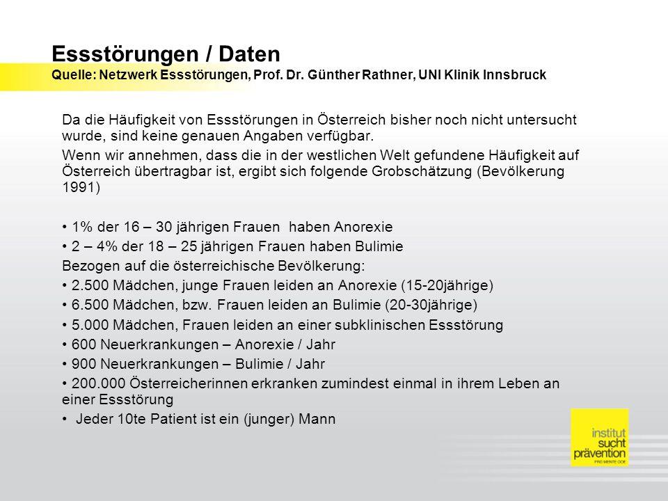 Essstörungen / Daten Quelle: Netzwerk Essstörungen, Prof. Dr