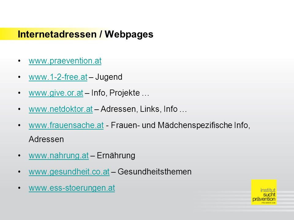 Internetadressen / Webpages