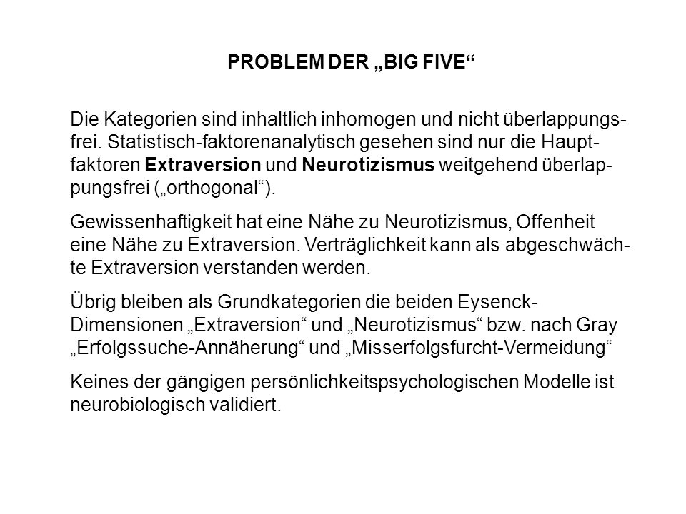 "PROBLEM DER ""BIG FIVE"
