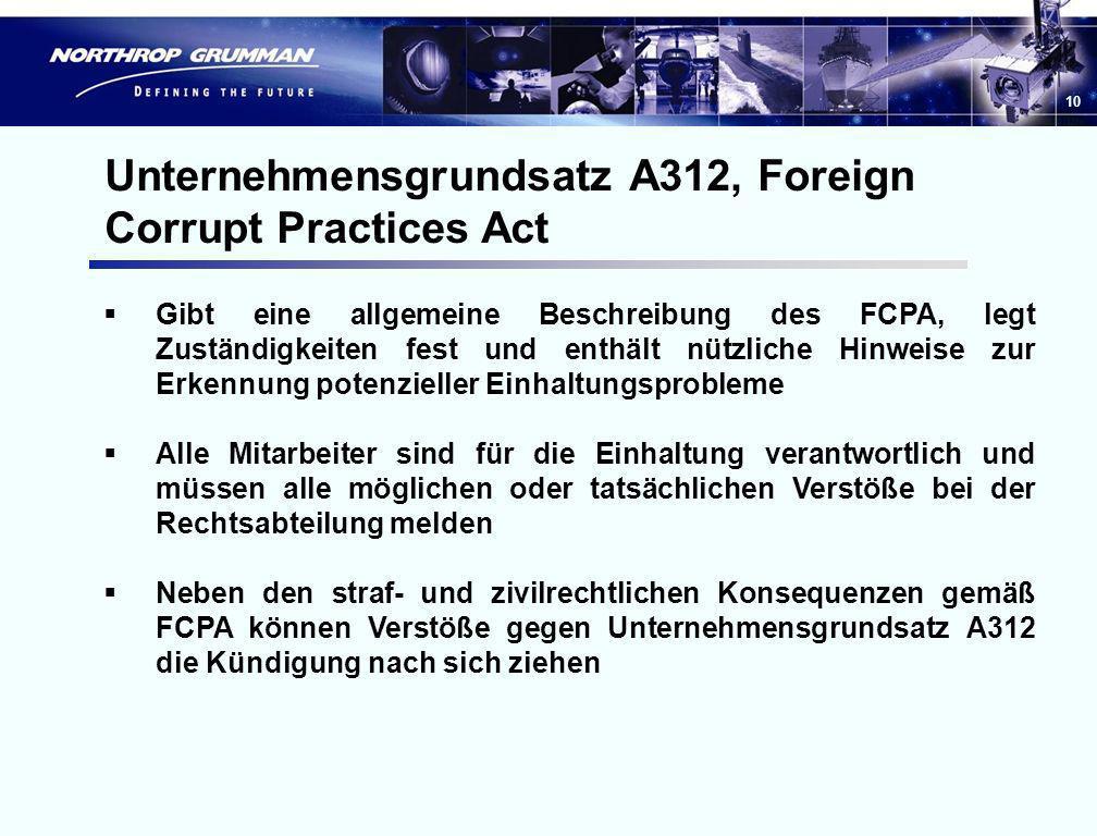Unternehmensgrundsatz A312, Foreign Corrupt Practices Act