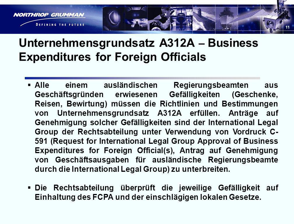 Unternehmensgrundsatz A312A – Business Expenditures for Foreign Officials