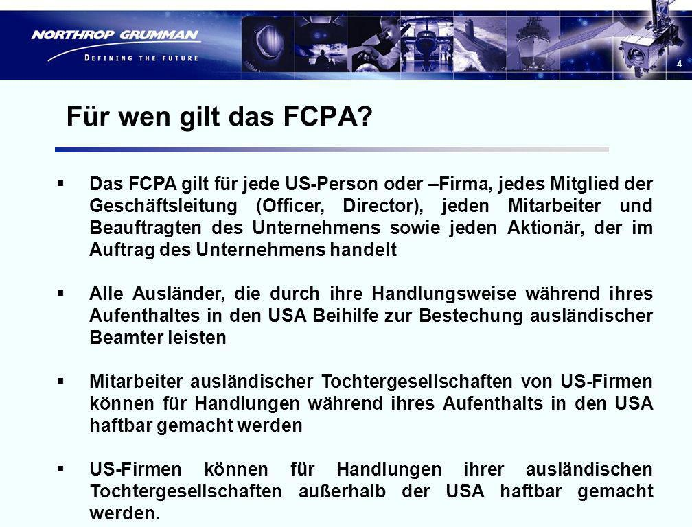 Für wen gilt das FCPA
