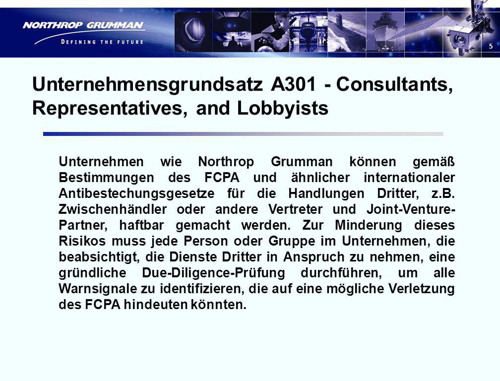 Unternehmensgrundsatz A301 - Consultants, Representatives, and Lobbyists