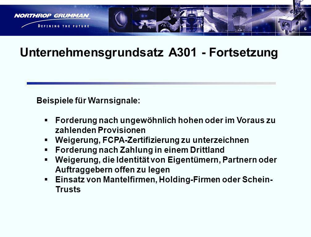 Unternehmensgrundsatz A301 - Fortsetzung