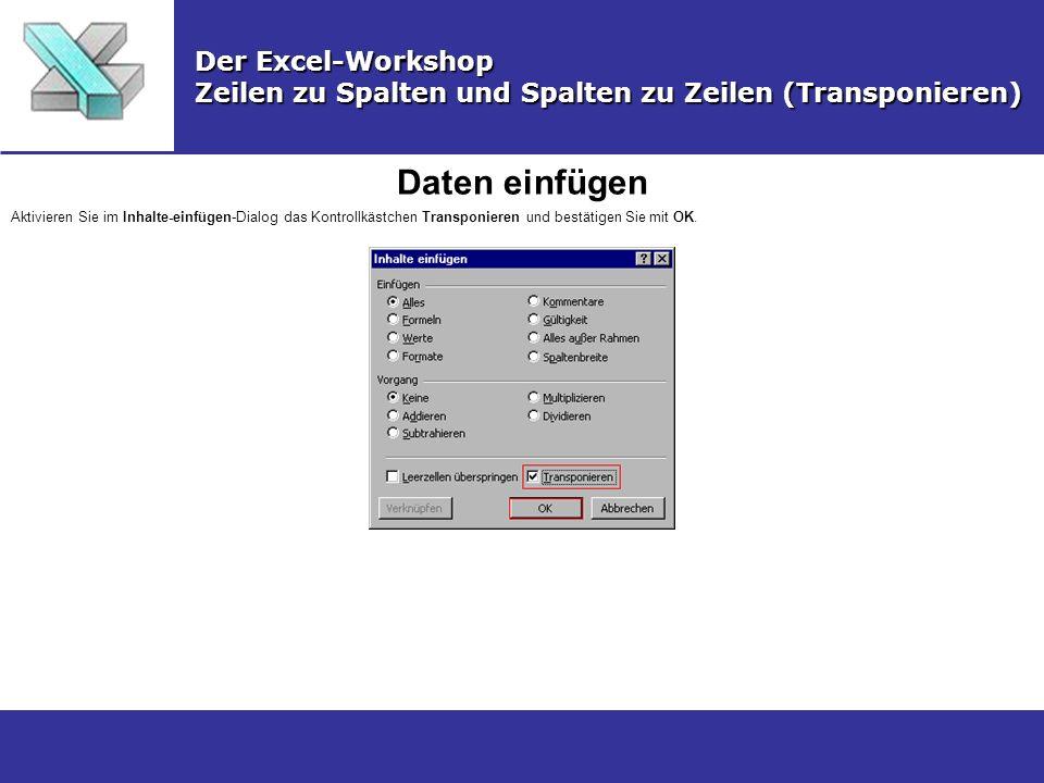 Daten einfügen Der Excel-Workshop