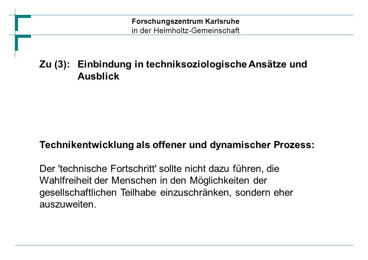 Zu (3): Einbindung in techniksoziologische Ansätze und Ausblick