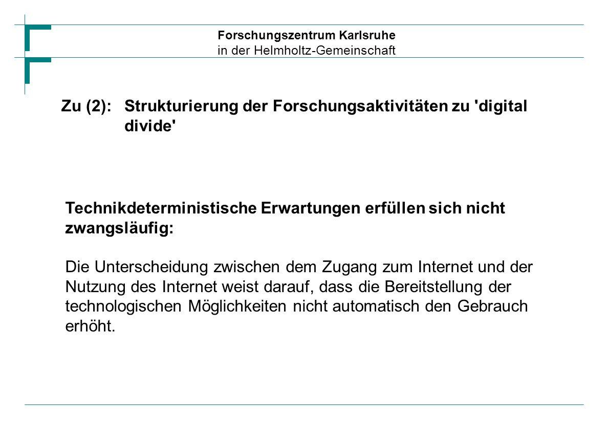 Zu (2): Strukturierung der Forschungsaktivitäten zu digital divide