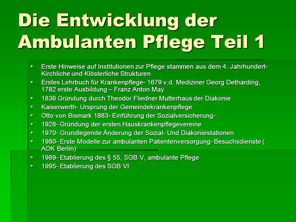 Die Entwicklung der Ambulanten Pflege Teil 1