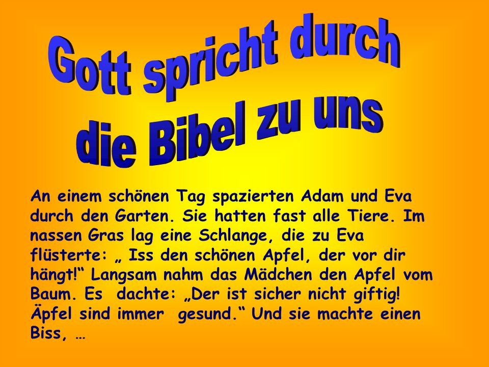 Gott spricht durch die Bibel zu uns