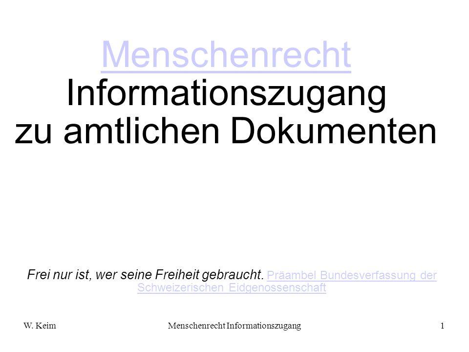 Menschenrecht Informationszugang zu amtlichen Dokumenten