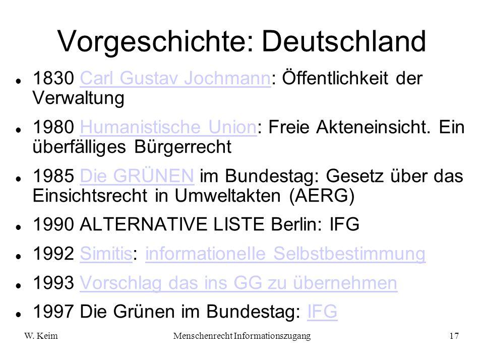 Vorgeschichte: Deutschland