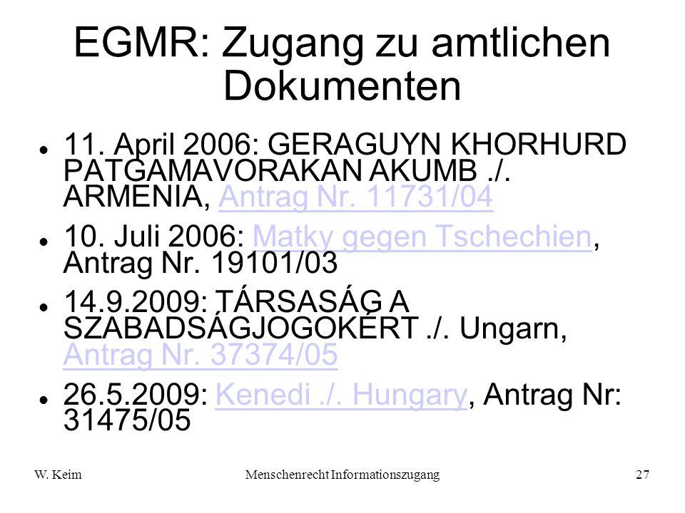 EGMR: Zugang zu amtlichen Dokumenten
