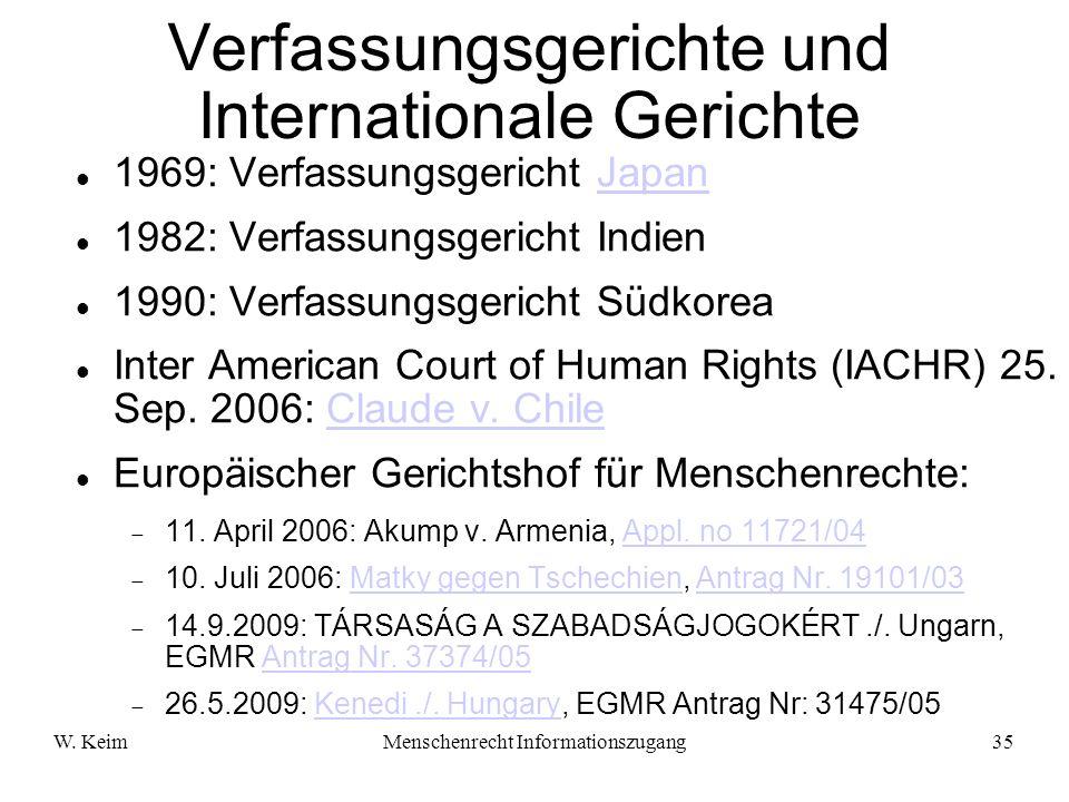 Verfassungsgerichte und Internationale Gerichte
