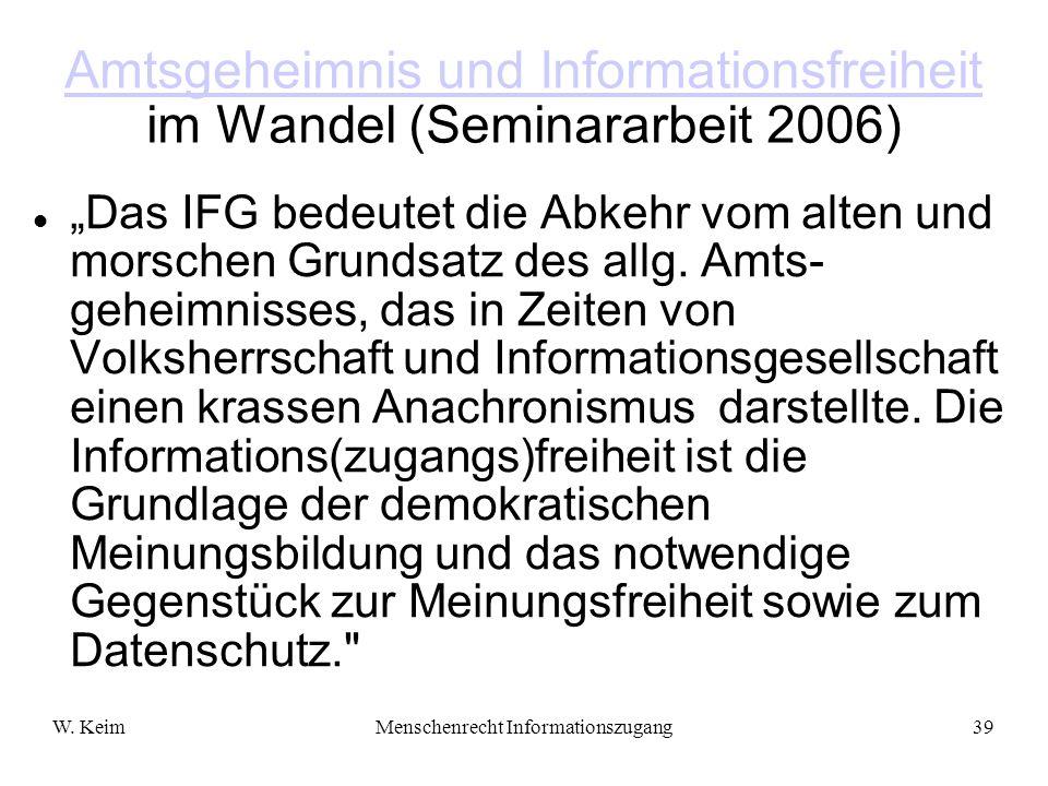 Amtsgeheimnis und Informationsfreiheit im Wandel (Seminararbeit 2006)