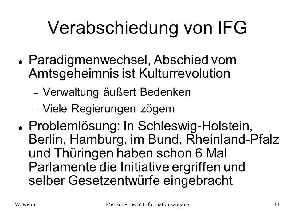 Verabschiedung von IFG