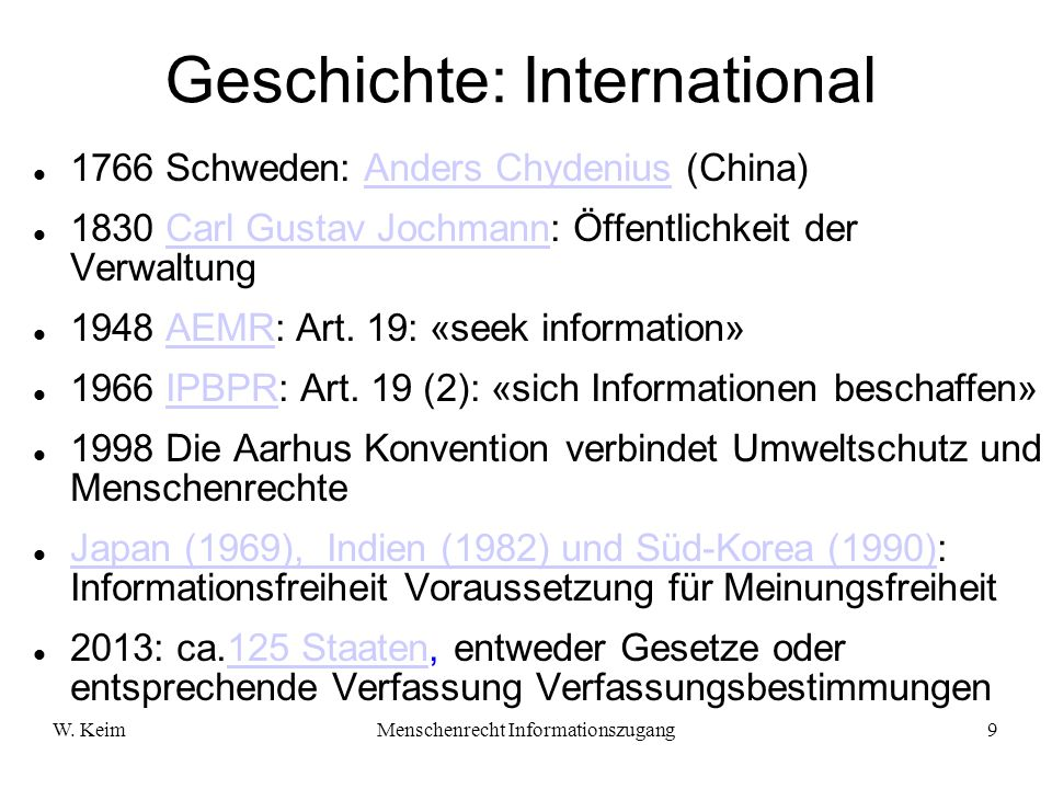 Geschichte: International