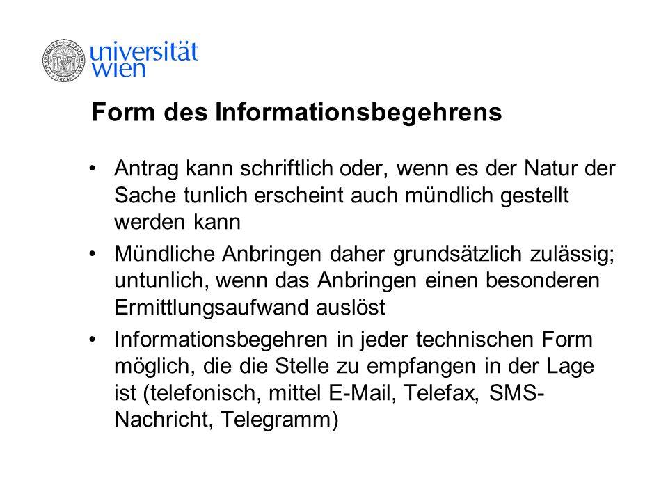 Form des Informationsbegehrens