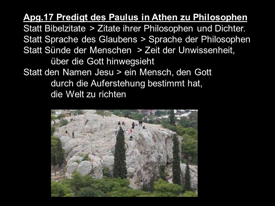 Apg.17 Predigt des Paulus in Athen zu Philosophen