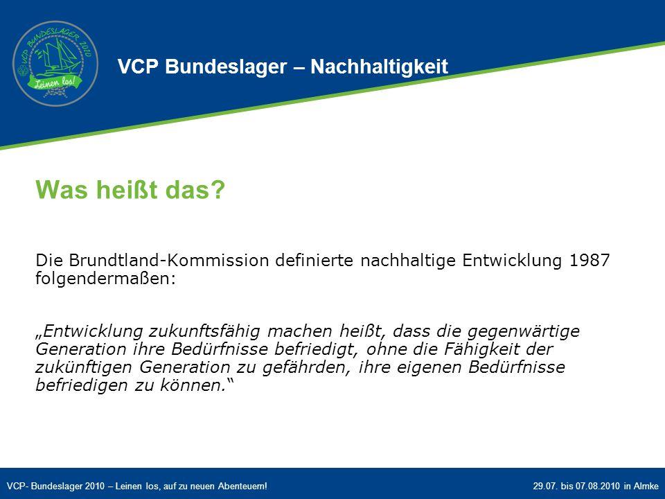 Was heißt das VCP Bundeslager – Nachhaltigkeit