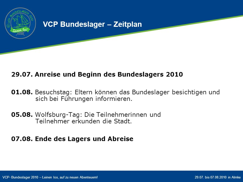 VCP Bundeslager – Zeitplan