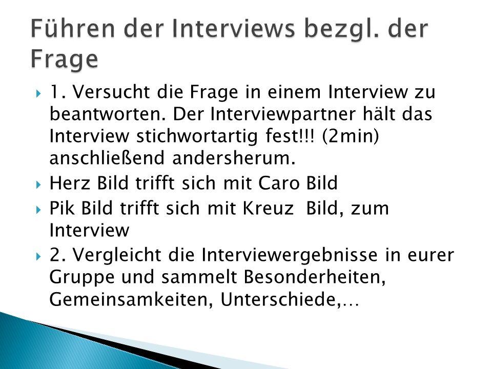 Führen der Interviews bezgl. der Frage