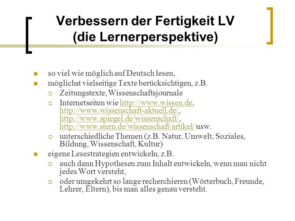 Verbessern der Fertigkeit LV (die Lernerperspektive)