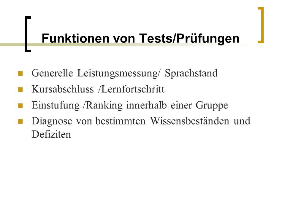 Funktionen von Tests/Prüfungen