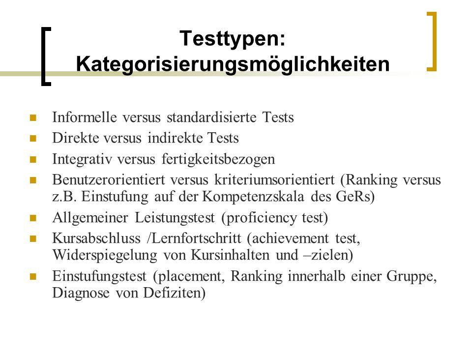 Testtypen: Kategorisierungsmöglichkeiten