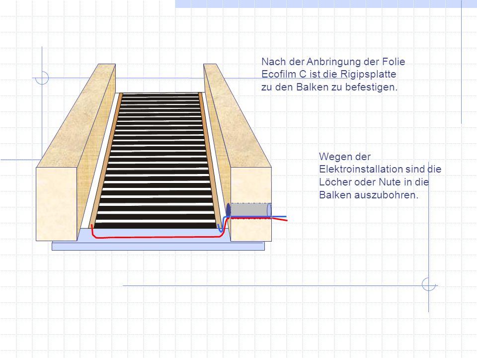 Nach der Anbringung der Folie Ecofilm C ist die Rigipsplatte zu den Balken zu befestigen.