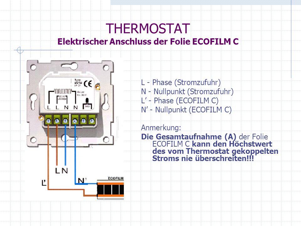 THERMOSTAT Elektrischer Anschluss der Folie ECOFILM C
