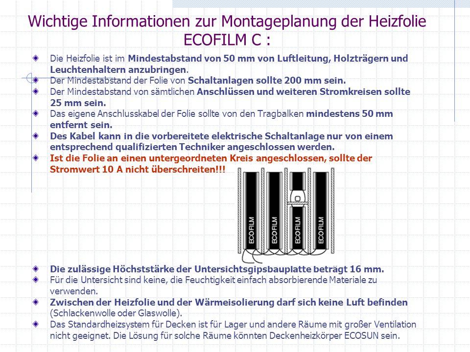 Wichtige Informationen zur Montageplanung der Heizfolie ECOFILM C :