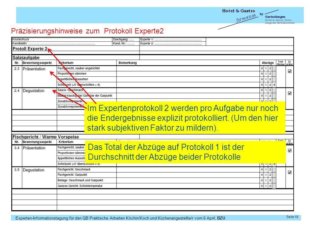 Präzisierungshinweise zum Protokoll Experte2