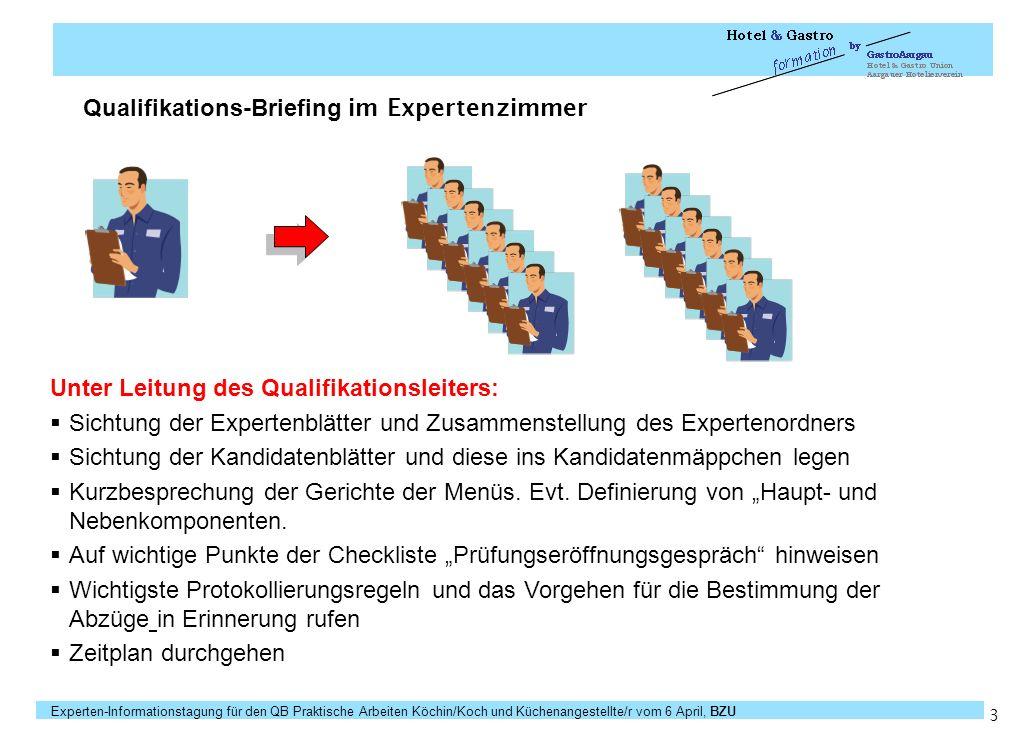 Qualifikations-Briefing im Expertenzimmer