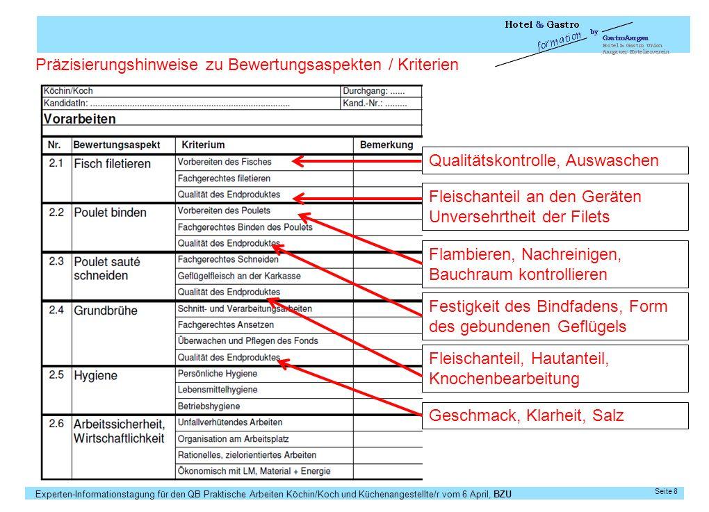 Präzisierungshinweise zu Bewertungsaspekten / Kriterien