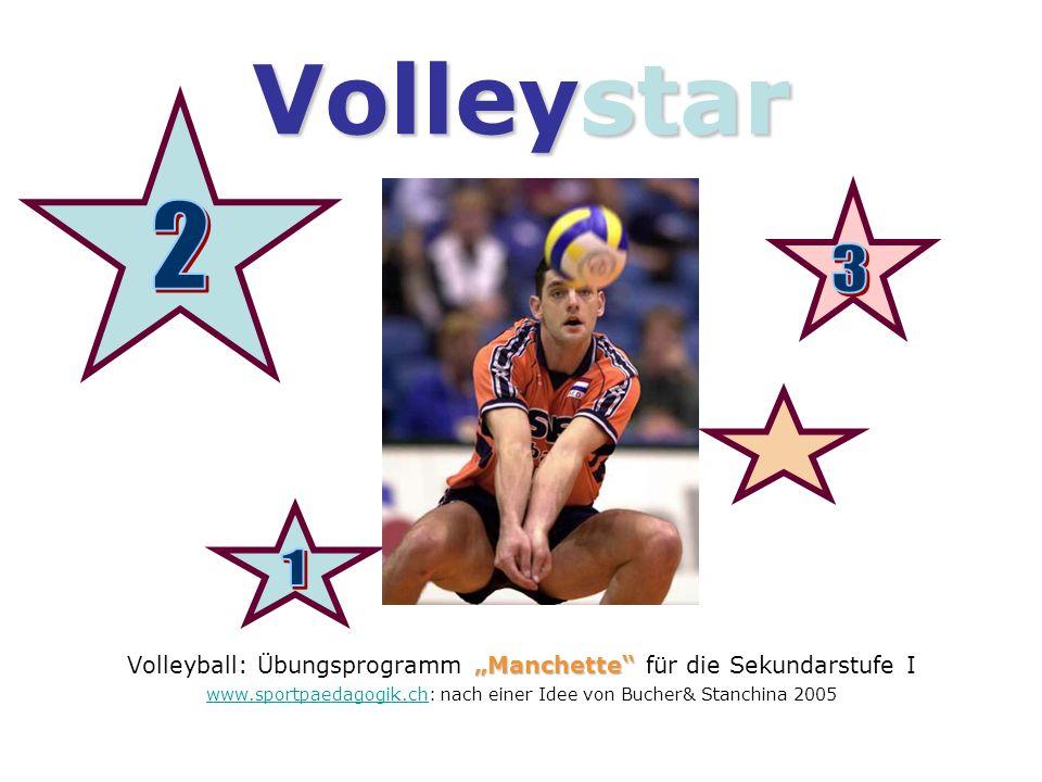 """Volleystar 2. Volleyball: Übungsprogramm """"Manchette für die Sekundarstufe I. www.sportpaedagogik.ch: nach einer Idee von Bucher& Stanchina 2005."""