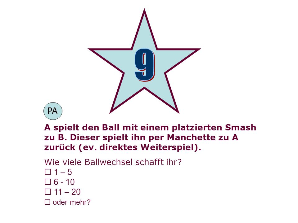 9PA. A spielt den Ball mit einem platzierten Smash zu B. Dieser spielt ihn per Manchette zu A zurück (ev. direktes Weiterspiel).