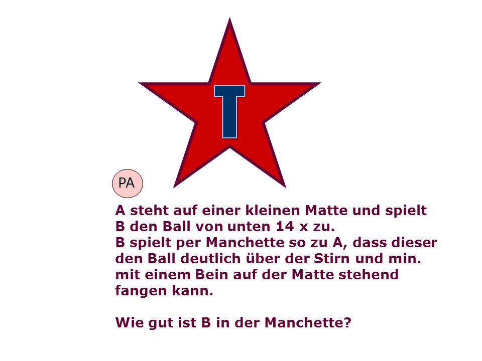 T PA. A steht auf einer kleinen Matte und spielt B den Ball von unten 14 x zu.