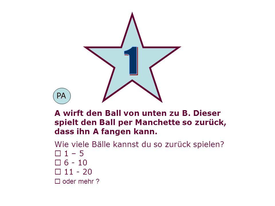 1 PA A wirft den Ball von unten zu B. Dieser