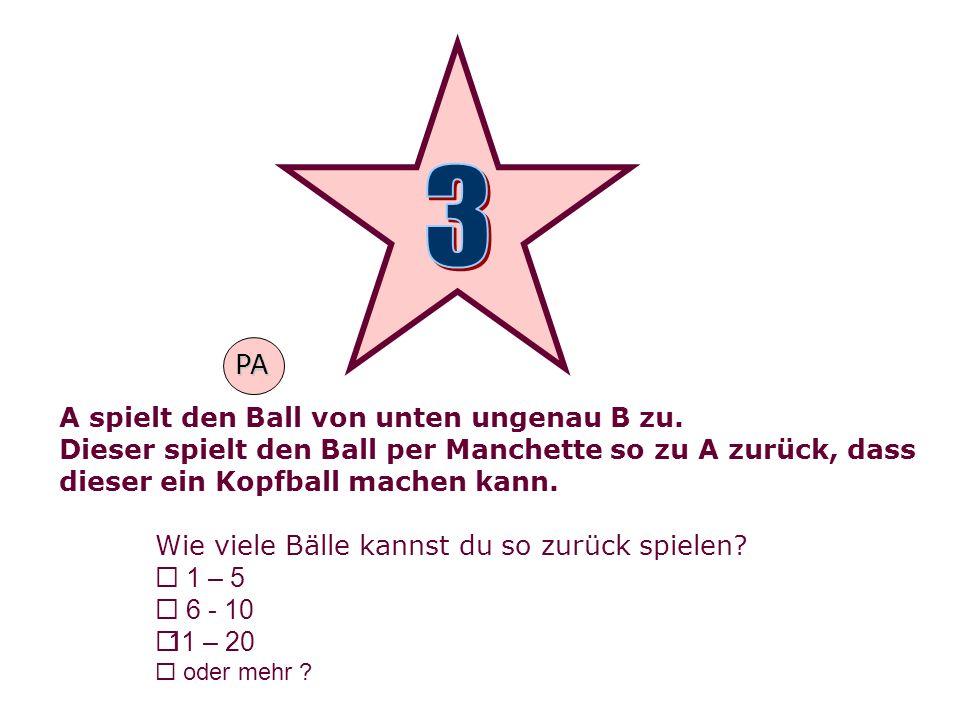 3 PA A spielt den Ball von unten ungenau B zu.